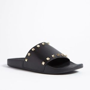 Forever 21 Studded Faux Leather Slides